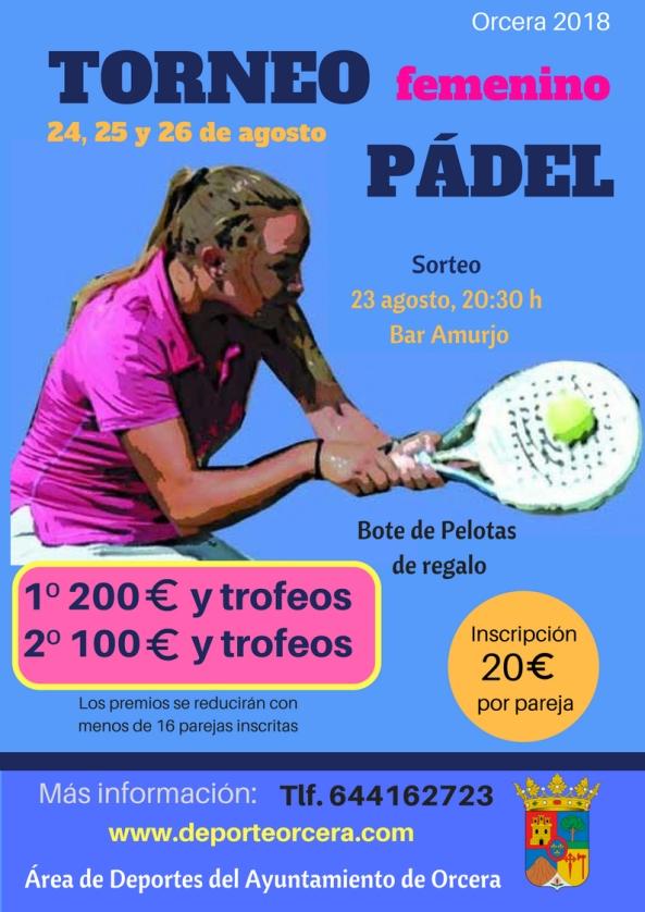 TORNEO DE PÁDEL femenino 2018