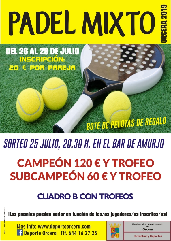 cartel padel mixto 2019