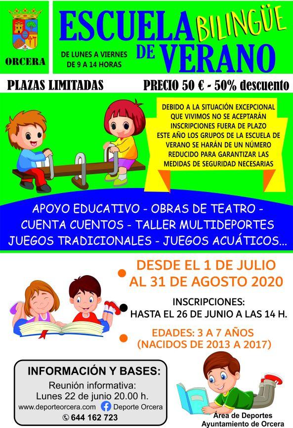 cartel escuela verano 2020
